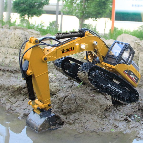 top popular TL580 23 Channels RC Excavator, All Alloy Model, 360 All-round Driving, Sound& Lights,Simulated Smoke, Metal Screw Drive, Kid Birthday Gift 2020