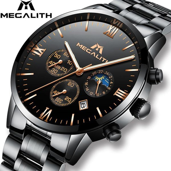 MEGALITH Montres Hommes Top Marque Chronographe Calendrier Date Montre Hommes Sport Waterproof Noir Acier inoxydable Montre-bracelet