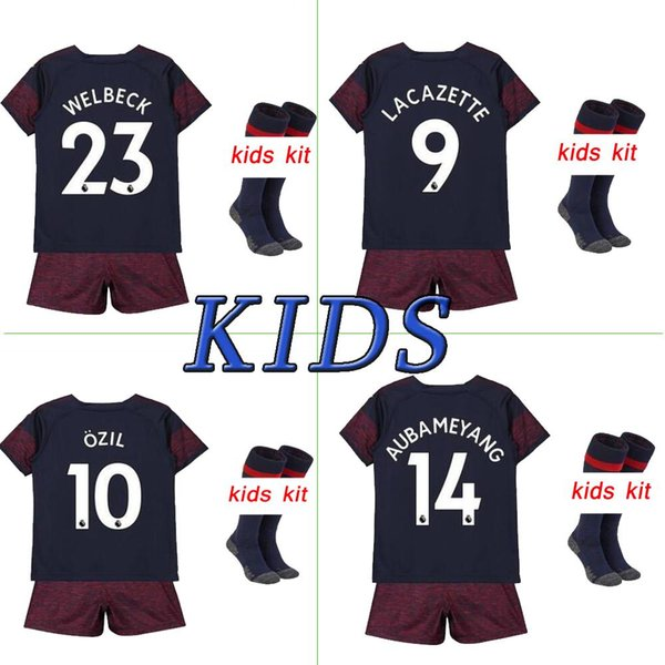 new concept cb74c 8eb2e 2018 Arsenal Soccer Jersey Football Shirt Uniforms Kids Kit 18 19  AUBAMEYANG LACAZETTE MKHITARYAN OZIL Arsenal Kids Kit Soccer  Jersey+Pants+Socks From ...