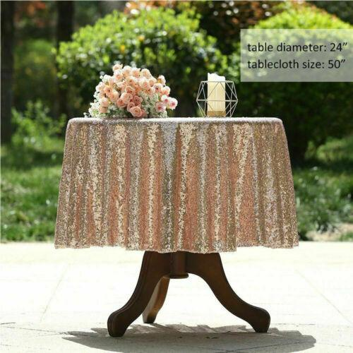 Round Sequin Rose Gold Table Cloth Cover Wedding Event Banquet Party Xmas Decor Table Cloth Round Sequin Tablecloth
