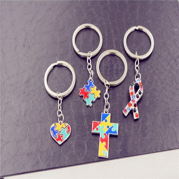 Kreative Autism Puzzle Schlüsselanhänger Mehrfarbiges Drip Öl Puzzle Auto-Haken-Schlüsselanhänger Neuheit-Einzelteile verziert Party Geschenke TTA701-1