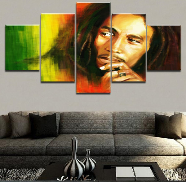 Musique Bob Marley Type -1,5 Pieces Décor à la Maison Imprimé HD Art Moderne Peinture sur Toile