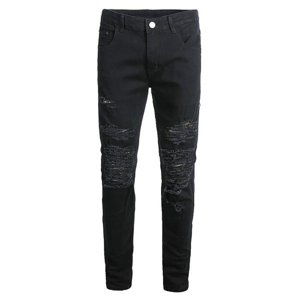 Mens Skinny Stretch Denim Pants Elastic Personality Stretch Ripped Personality Denim Trousers Slim Fit Jeans
