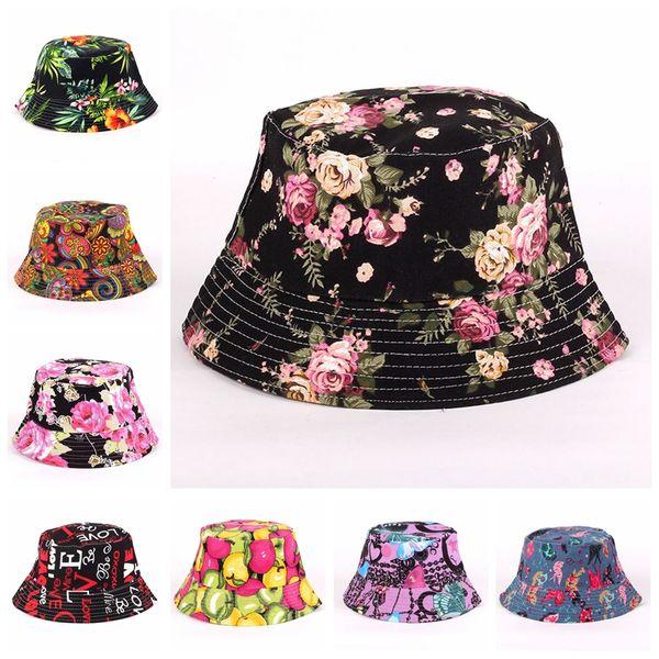27Style women canvas sunhats fashion style outdoor ultraviolet-proof print cap beach sun hats floral bucket hat