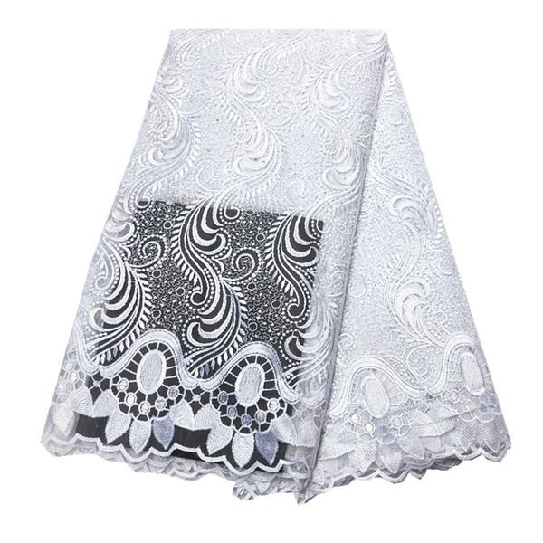 Tela de encaje blanco último 2019 tejido de tul de encaje nigeriano francés tejido de encaje africano blanco con piedras de alta calidad 2018