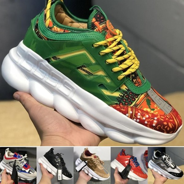 CHAIN REACTION Love sneaker women men red black ght weight chain linked designer sport fashion Casual Shoes dust bag box