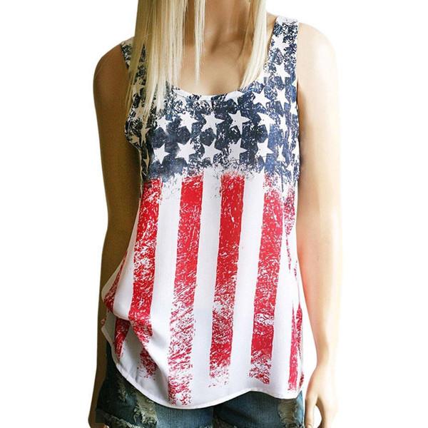 f8488493b4c Hot sale T Shirt Women American Flag Print Sleeveless summer Crop Tops hot  girl Vest T
