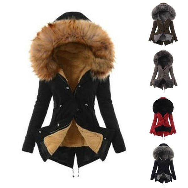 OEAK Femmes Parkas Mode Hiver européenne Automne Plaid Casual Veste à capuche en vrac manches longues en coton manteau rembourré S-3XL
