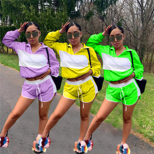 Women Patchwork Sheer Mesh Tracksuit Jacket Crop Top + Shorts Outfit Jumpsuits Summer Track Suit Wind Breaker Sports Jogger Set 2019 C41503