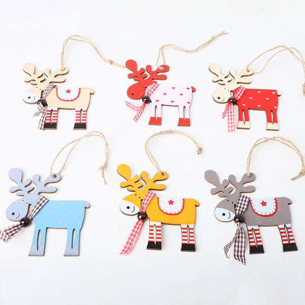 1PCS Wooden Painted Elk Christmas Tree Decoration Pendant XMAS Drop Christmas Decorations For Home Kids Gift