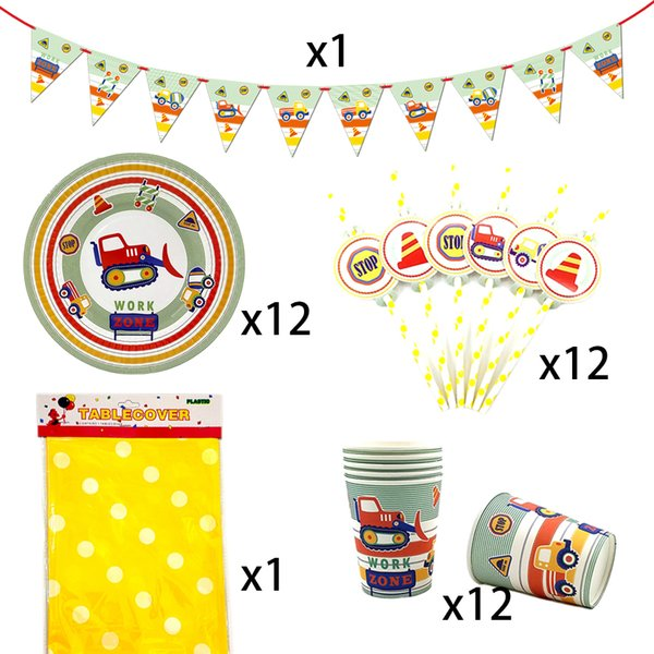 Party Supplies 38pcs for 12kids Construction Vehicle Theme Birthday Party Decor Tableware Set Plate Cup Straw Banner Tablecover