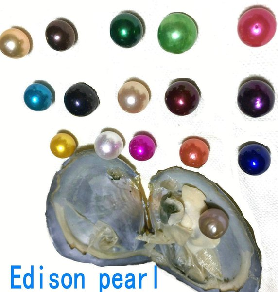 2018 New DIY Rainbow 9-12mm Edison pearl in Freshwater Oyster Wish Pearl Meaning Funny Birthday Gift for Women party DIY Jewellery