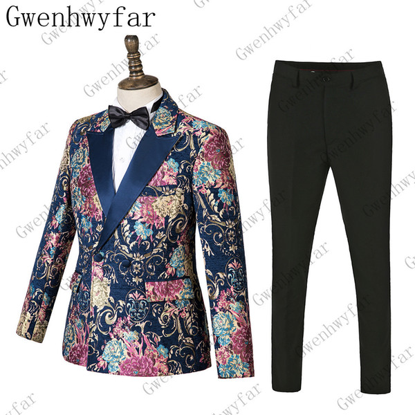Gwenhwyfar Splash Boyama Erkek Takim Elbise Tepe Yaka Blazer