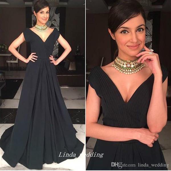 Hohe Qualität Tiefem V-ausschnitt Langes Abendkleid Elegante Schwarze Farbe Eine Linie Flügelärmeln Frauen Party Formales Gastkleid Plus Größe
