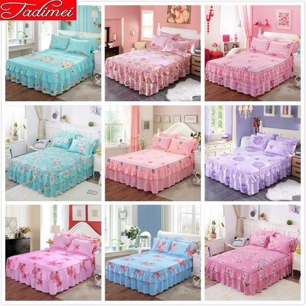 Single Twin Full Queen King Size Bedspreads Adult Kids Child Girl Pink Bed Skirts With Lace 120x200 150x200 180x200 Cm Bed Cover