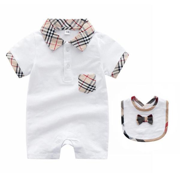 2018 Summer Hot vente bébé vêtement à manches courtes pur coton rampant vêtements à carreaux revers garçon combinaisons salopette enfants