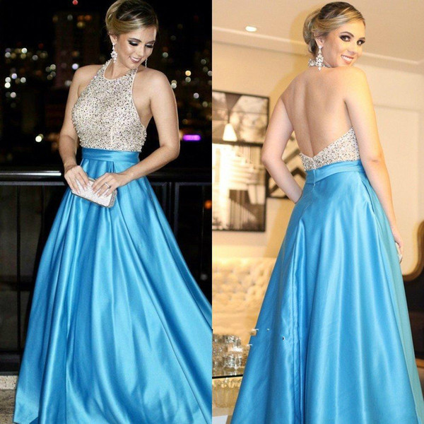 Sexy Backless Prom Dresses A-line Halter Sky Blue Long Special Occasion Formal Party Evening Gowns With Beaded Arabic Dresses China dhgate
