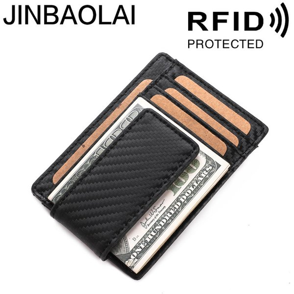 2019 New Slim Genuine leather Men's Money Clip Wallet RFID Card Protection Portable Small Pocket Carbon Fiber Purse For Man