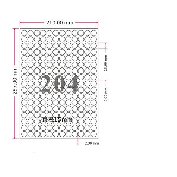 8 Boyutları 1.5 cm-9.5 cm Çap Mat Beyaz Kraft Kağıt Yuvarlak Etiket A4 Levha Kendinden Yapışkanlı Baskı Etiket Kağıdı Mürekkep Püskürtmeli Cartoo Lazer Baskı Kağıdı