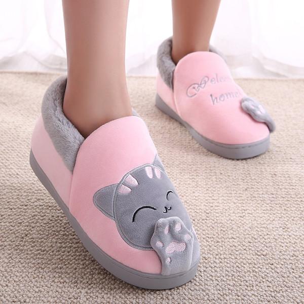 Haus Hausschuhe Frauen Cartoon Katze Haus Schuhe rutschfeste Weiche Winter Warme Hausschuhe Indoor Schlafzimmer Liebt Paare Boden Schuhe Plus Größe
