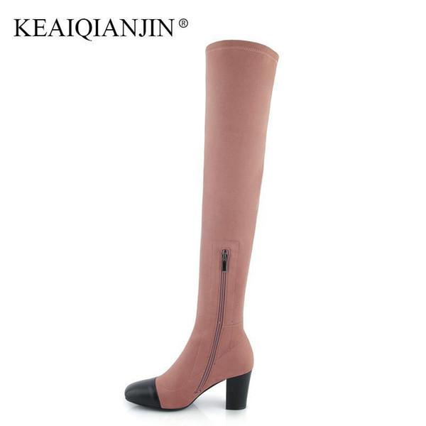 Keaiqianjin Couro Genuíno Sobre O Joelho Botas Mulher Rosa Preta Sapatos de Salto Alto Outono Inverno Dedo Apontado Coxa Botas Altas