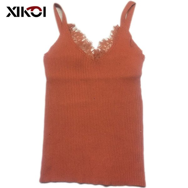 XIKOI Sexy Knitted Tank Tops Women Thread Top Vest Lace V Neck Long Tank Tops Blouse Solid Color Camis Beige Fitness Sweater