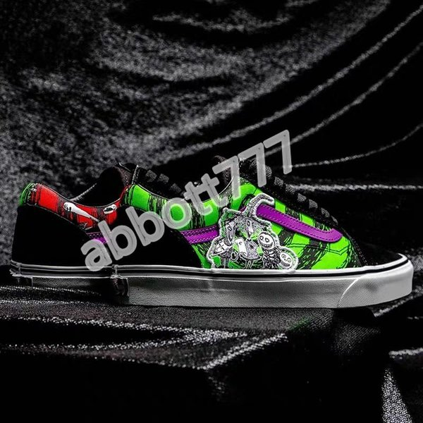 2020 Van Nightmare Comfycush Authentic X Christmas Cry Night Fans DisneyVansShoes Old Skool Joint Canvas Sneakers Sports Shoes Boys Cheap Childrens