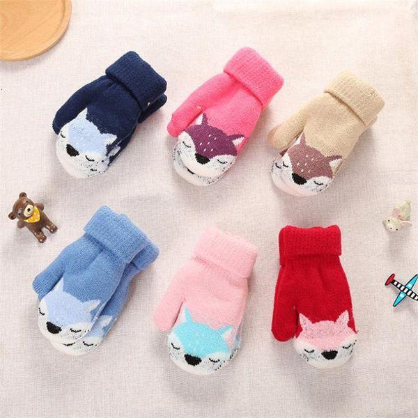 Fashion Children Winter Knit Glove Cut Little Fox Pattern Double Thickening Warm gloves Jacquard Kids Lanyard Mittens