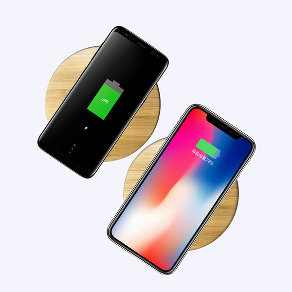 2019 Neue Universal Bamboo Wood Holz Qi Wireless Charger Pad Qi Schnellladepads für iPhone X 8 Samsung Galaxy S9 Plus S8 S7 Rand