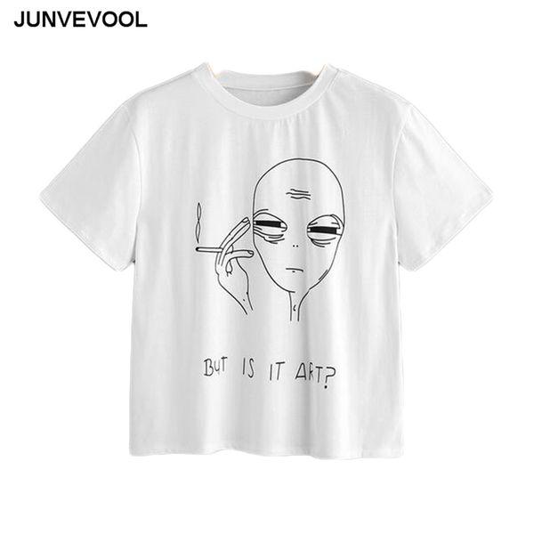 Kısa Alien T-Shirt Kadın Yaz Tees Sıcak Satış Harajuku Tops AMA BU SANATı? Tee gömlek Bayanlar Robe Beyaz Tees En Casual T Shirt Y18122401