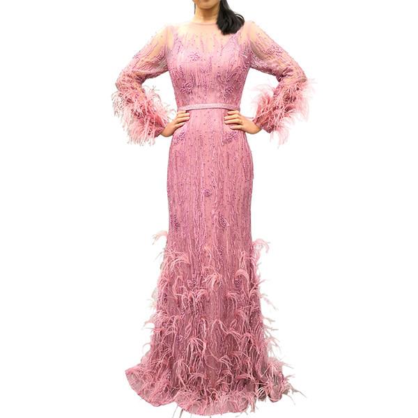 Gorgeous Pink Feather Evening Dresses 2019 Jewel Neck Back Long Sleeve Sheath Floor Length Formal Designer Occasion Dresses Real Image