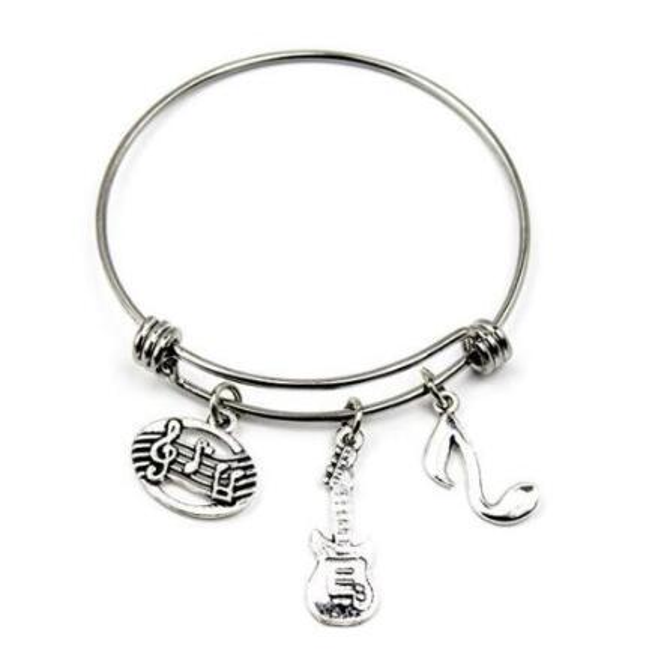 Guitar Music Teacher Charm Bracelets Expandable Wire Bangle Bracelets Fashion DIY Jewelry Wire Bangle Adjustable Bracelet Accessories Gift