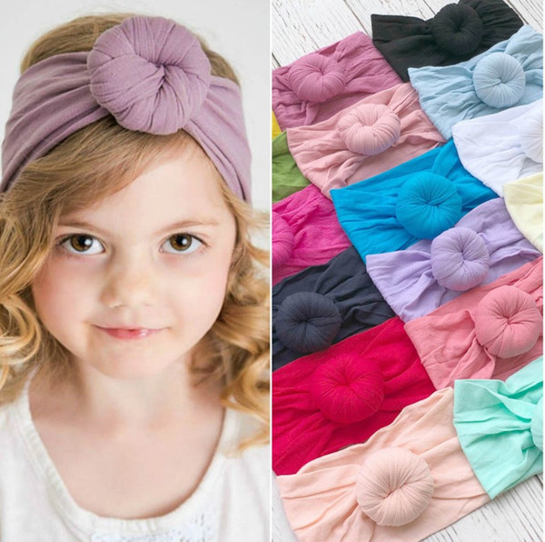 top popular 21 colors fashion baby Turban Nylon Headband super soft ball Bohemia hair accessories children kids headbands 16*9cm 2020