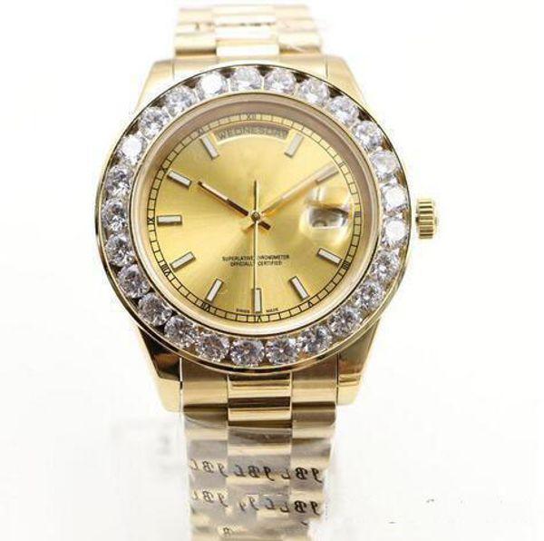 высокое качество золото президент день-дата бриллианты часы мужчины нержавеющая перламутровый циферблат Алмазный безель автоматические наручные часы Часы.