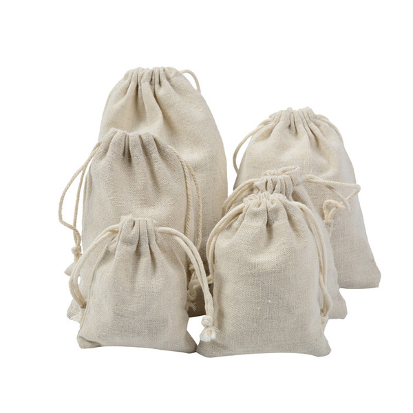 Handmade Cotton Linen Drawstring Bag Men Women Travel Storage Package Bags Shopping Bag Coin Purse Christmas Gift pouch Hot