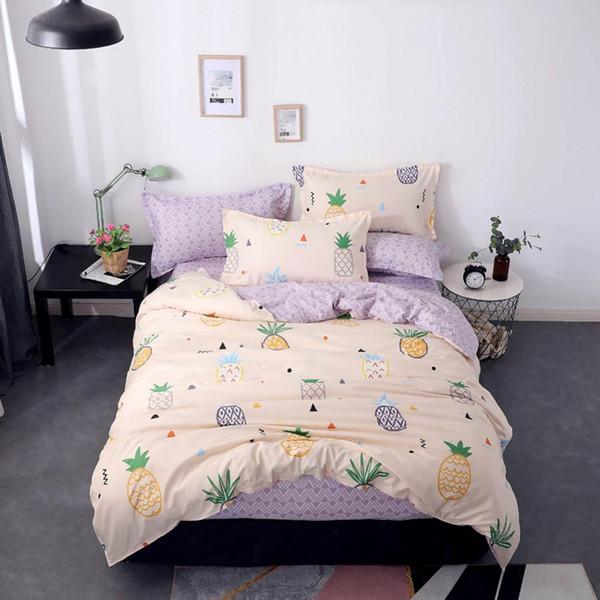 2019 Cartoon Pineapples Beige Bedding Sets Microfiber Brush Polyester Bedlinens Twin Full Queen King Duvet Cover Set Pillowcases
