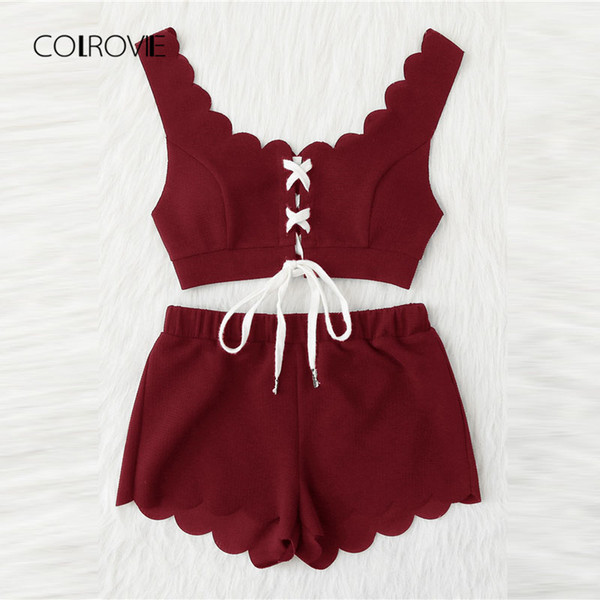 Colrovie Lace Up Front Scalloped Trim Crop Top And Shorts Pj Summer Scoop Neck Sleeveless Pajama Set Casual Sleepwear C19040901