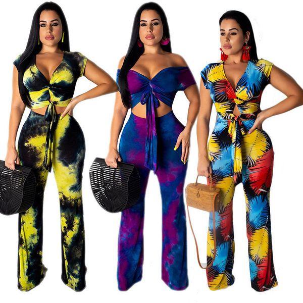 Mode Frauen Outfits Kurzarm Schulterfrei T-shirt bauchfreies Oberteil + Hose mit weitem Bein Hosen 2-teiliges Set Blattdruck Trainingsanzug Beach Style Anzug