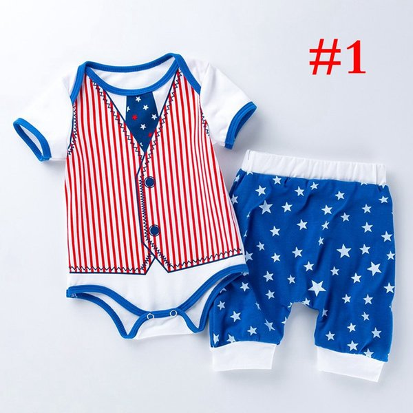 4TH OF JULY Summer Babies Romper Clothes Baby One Piece Spring Summer Short SET Harlequin Baby Clothes Neaborn Boys Girls Romper
