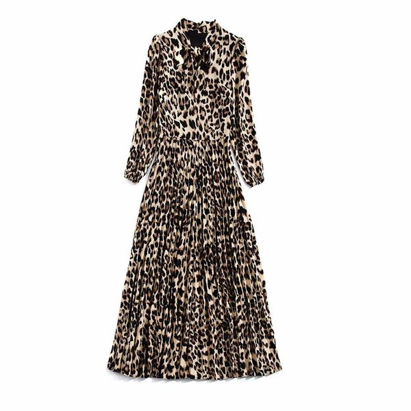 2019 Spring Long Sleeve Crew Neck Leopard Print With Ribbon Tie-Bow Pleat Long Maxi Dresses Luxury Runway Dress N02K102409