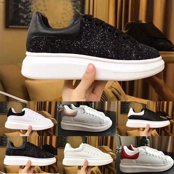 Las nuevas mujeres de los hombres zapatos casuales de cuero negro de la mujer al aire libre de vestir zapatos planos de los zapatos de la reina fiesta de la boda la zapatilla de deporte 19