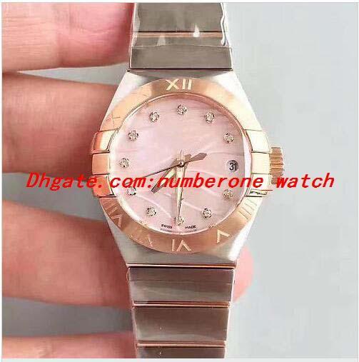 OE Luxury Watch 18K Rose Gold Ladies Lady ETA 8520 Automatic 316L Steel Diamond Brzel Mother Of Pearl Dial 27mm Sapphire Crystal Women WATCH