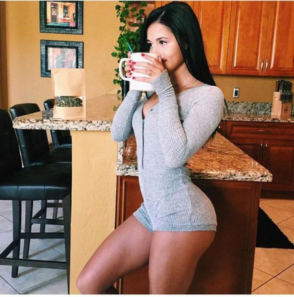Wholesale- Autumn Rompers Women Jumpsuit Sweater Solid Color Long Sleeve Sexy Deep V-neck Knitted Bodycon Plus Size Pullovers