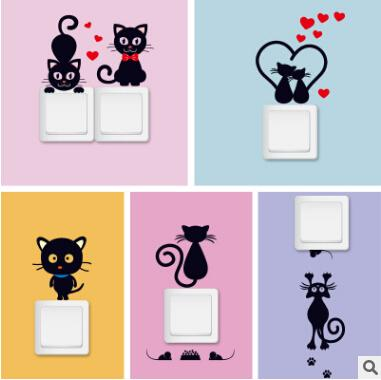 Switch Wall Sticker Black Cat Cartoon Stickers Creative Removable Self Adhesive DIY Cat Wall Decal Home Living Room Decoration
