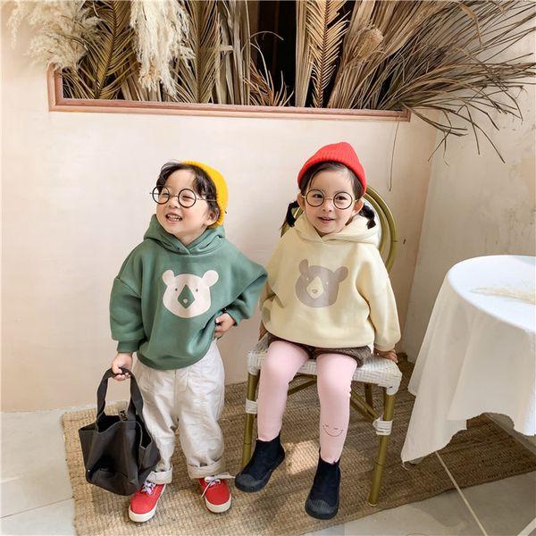 2019 Winter Clothes Kids Korean Boys and Girls Cartoon Bear Pullover Hooded with Cap Infant Girls Plus Velvet Padded Sweatshirt