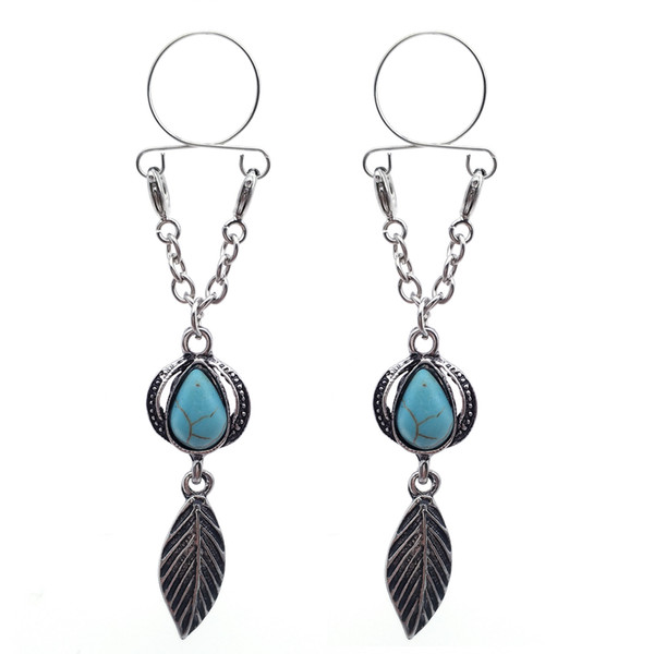 1 Piece Crystal Heart turquoise Leaf Nipple Bars 316L Surgical Steel Body Jewelry Nipple Rings