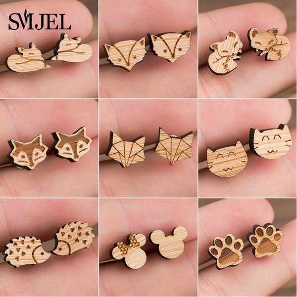 tud Earrings SMJEL Wood Earings Jewelry Cute Animal Fox Stud Earring for Women Girls Kids Mickey Ear Earrings Piercing Pendients Party Gi...