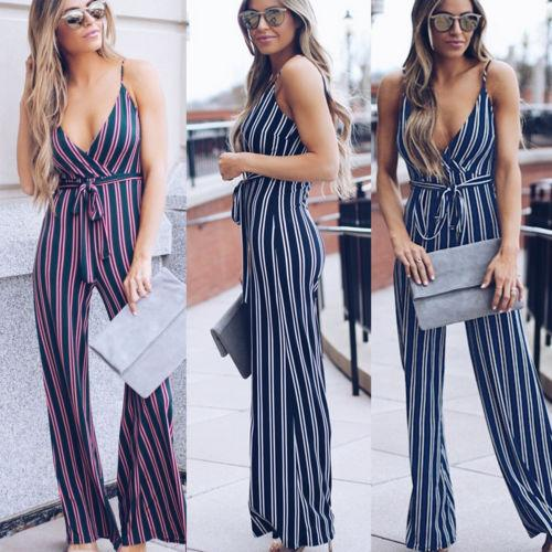 Womens Lady Female Clubwear Sleeveless V Neck Playsuit Sunsuit Party Jumpsuit Romper Chiffon Long Trousers High Waisted Pants