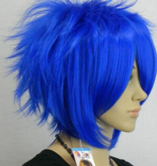 WIG 01754 NUOVA parrucca piena blu cosplay dritto corto + cappuccio parrucca