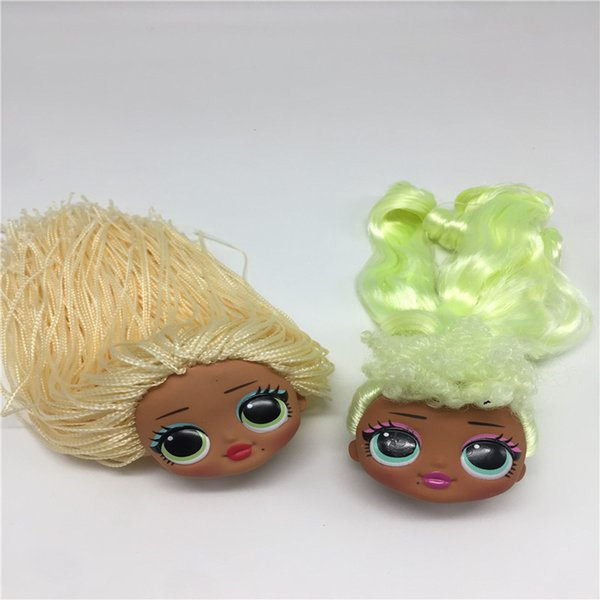 Fashion Sister Big Doll Heads For DIY Lols Doll Toy Heads Green Hair Yellow Hair Collection Doll Toy Heads